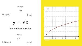 Parent Functions -  Identify  Domains Ranges