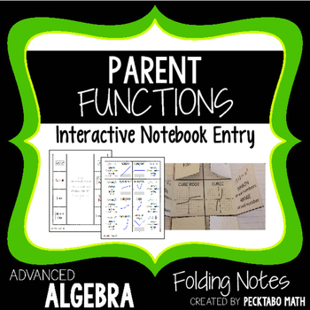 Parent Functions Interactive Notebook Foldable Notes