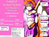 Parent Functions Set Builder Notation Foldable Notes & Reference