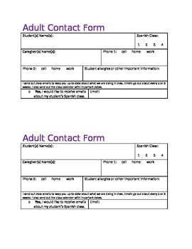 Parent/ Gaurdian Contact Form