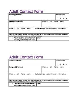 Parent/ Gaurdian Contact Form