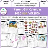 Parent Gift Calendar 2019 USA Version