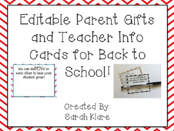 Parent *Gift* and Teacher Info Cards {FREEBIE}