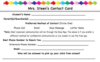Parent/Guardian Contact Card