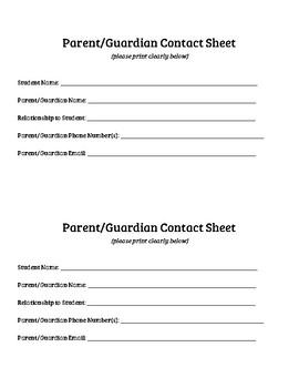 Parent Guardian Contact Slips