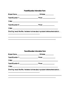 Parent/Guardian Information Form