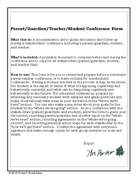 Parent/Guardian, Student, and Teacher Conference Form
