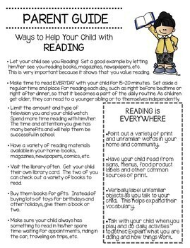 Parent Guide For Reading at Home 3rd-5th