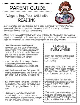Parent Guide For Reading at Home Grades K-2nd