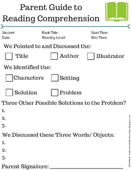 Parent Guide to Reading Comprehension (Tracker/Checklist)