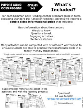 Parent Guide to Reinforcing CCSS Reading: Grades 3-5