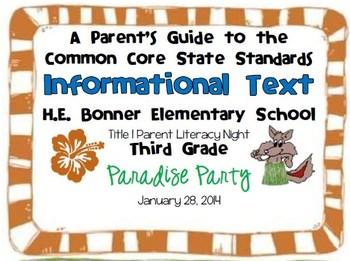 Parent Guide to Third Grade Informational Text CCSS
