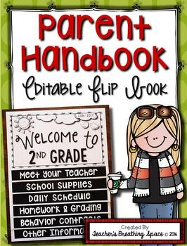 Parent Handbook --- EDITABLE Parent Handbook Flipbook for Back To School