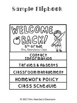 Editable Parent Handbook Flipbook- Back to School Night