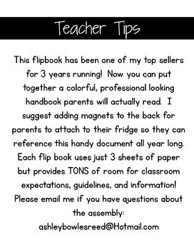 EDITABLE Back to School Parent Information Flip Book