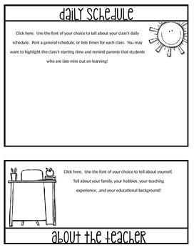 EDITABLE Back to School Parent Information Flip Book (No Cut Flipbook)