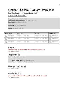 Parent Handbook Template