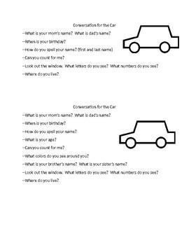Parent Handout--Car Conversation