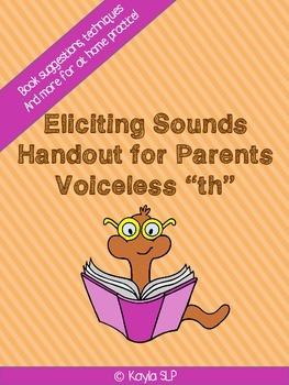 """Parent Handout- Eliciting Voiceless """"TH"""""""