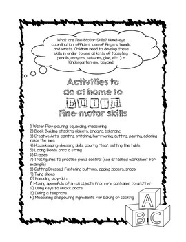 Parent Handout: Fine Motor Skills