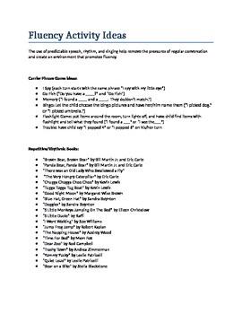 Parent Handout - Fluency Activity Ideas