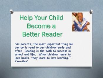 Parent Handout Help Your Child Become a Better Reader
