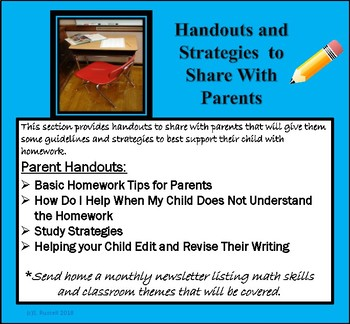 Parent Handout:  Homework Tips for Parents