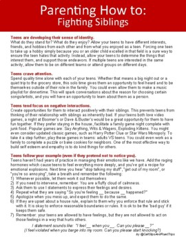 Parent Handout - How to Handle Fighting Siblings