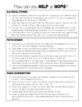 Parent Handout: How to help at home. English and Spanish FREEBIE