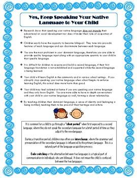 Parent Handout - Importance of Speaking Native Language to Children