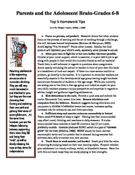 Parent Handout-Parents and the Adolescent's Brain-Homework and Connection Tips