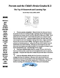 Parent Handout-Parents and the Child's Brain-Homework and