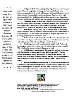 Parent Handout-Parents and the Tween's Brain-Homework Tips