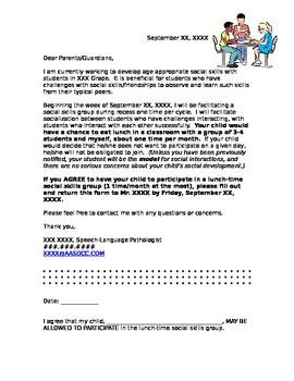 Parent Handout - Social Skills Group Permission Slip