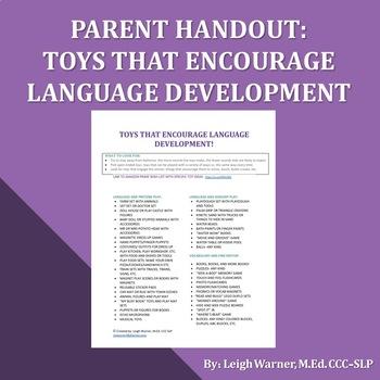 Parent Handout: Toys That Encourage Language Development
