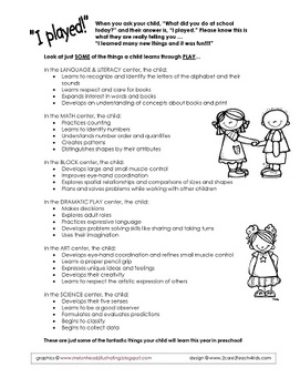 Parent Handout about Play and Learning