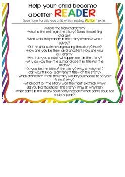 Parent Handout- helping children read fiction- question card