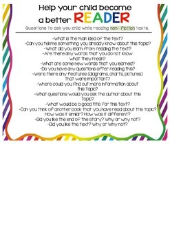 Parent Handout- helping children read non-fiction- question card
