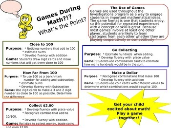 Parent Handout on Math Games