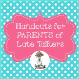 Parent Handouts For Late Talkers