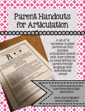 Parent Handouts for Articulation