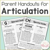 Articulation Handouts for Parents & Teachers