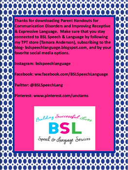 #BHSM Parent Handouts for Communication Disorders