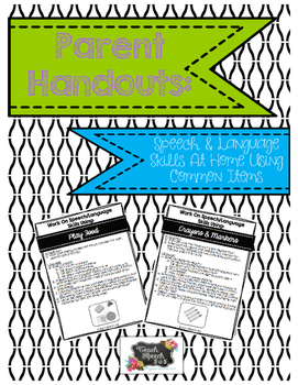 Parent Handouts for Practicing Speech Language Skills At Home