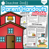 Parent Handouts for Preschool, Pre-K, and Kindergarten Editable