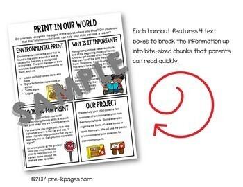 Parent Handouts for Preschool, Pre-K, and Kindergarten Editable