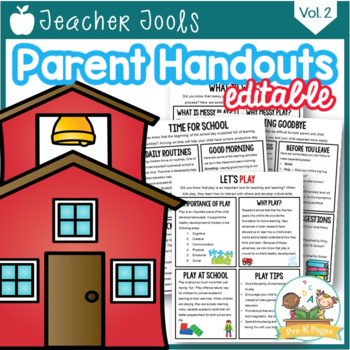 Parent Handouts for Preschool and Pre-K Editable Volume 2