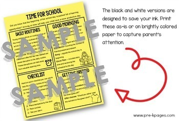 Parent Handouts for Preschool and Pre-K Editable Volume 2