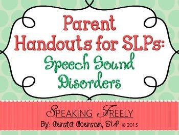 Parent Handouts for SLPs: Speech Sound Disorders