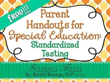 Parent Handouts for Special Education: Standardized Testing